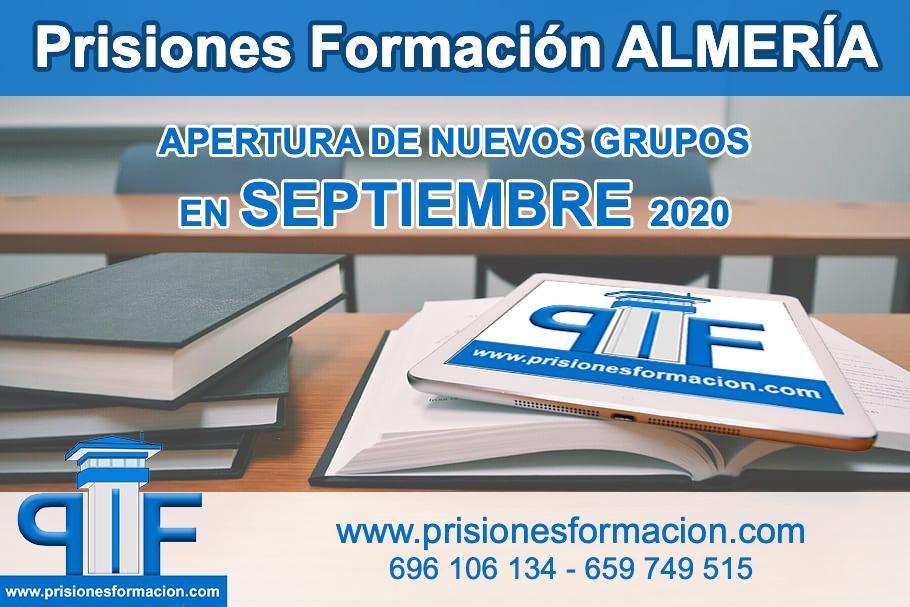 Prisiones Formación Almería nuevos grupos septiembre 2020