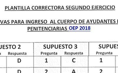 Plantilla Correctora Oficial del Segundo Ejercicio, convocatoria 2018
